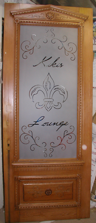 Kiki's Lounge Etched Glass Office Door