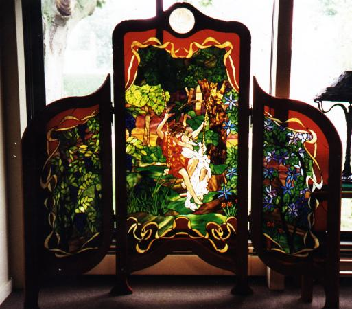 Le printemps stained glass room divider screen