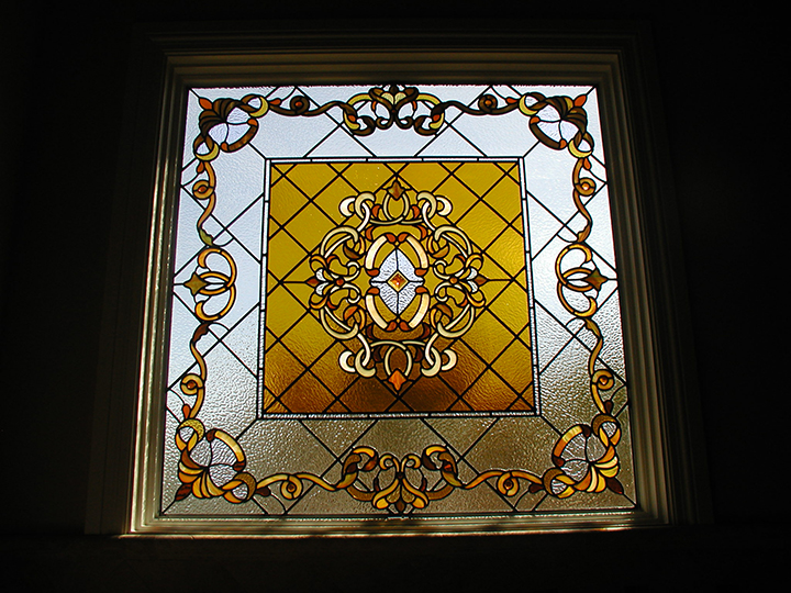 leaded stained glass window for bathroom