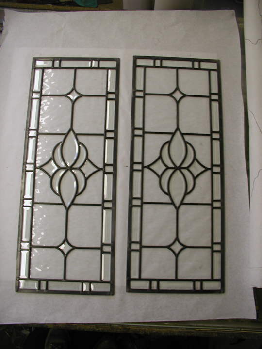 Clear water glass and bevels leaded glass window