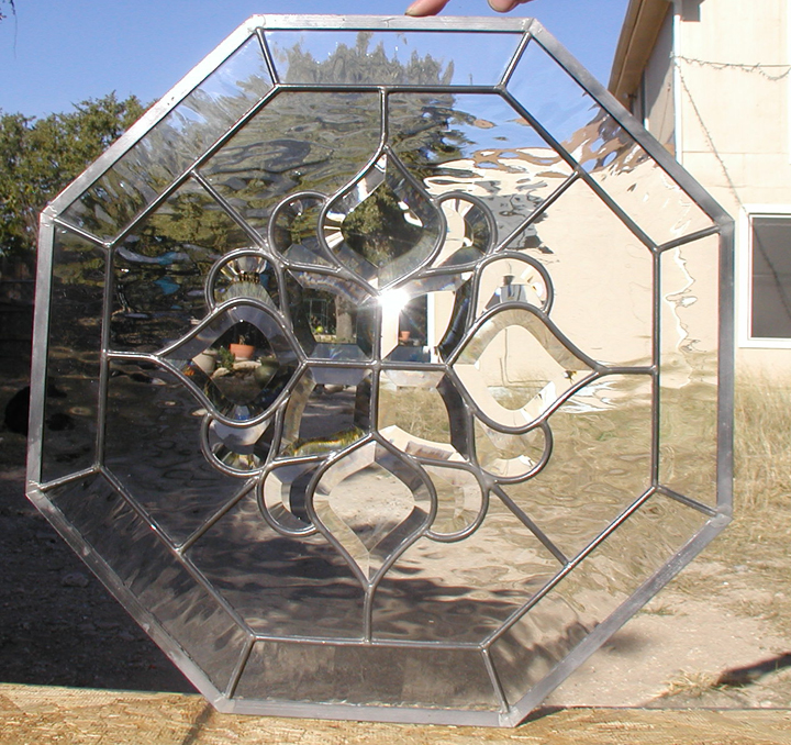 Clear water glass and bevels leaded octagon window for 18x18 window