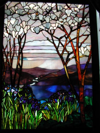 Magnolia and Iris Tiffany reproduction stained glass window