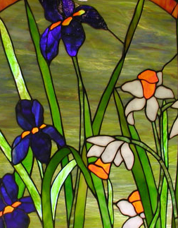 Irises and Daffodils Stained Glass Hanging