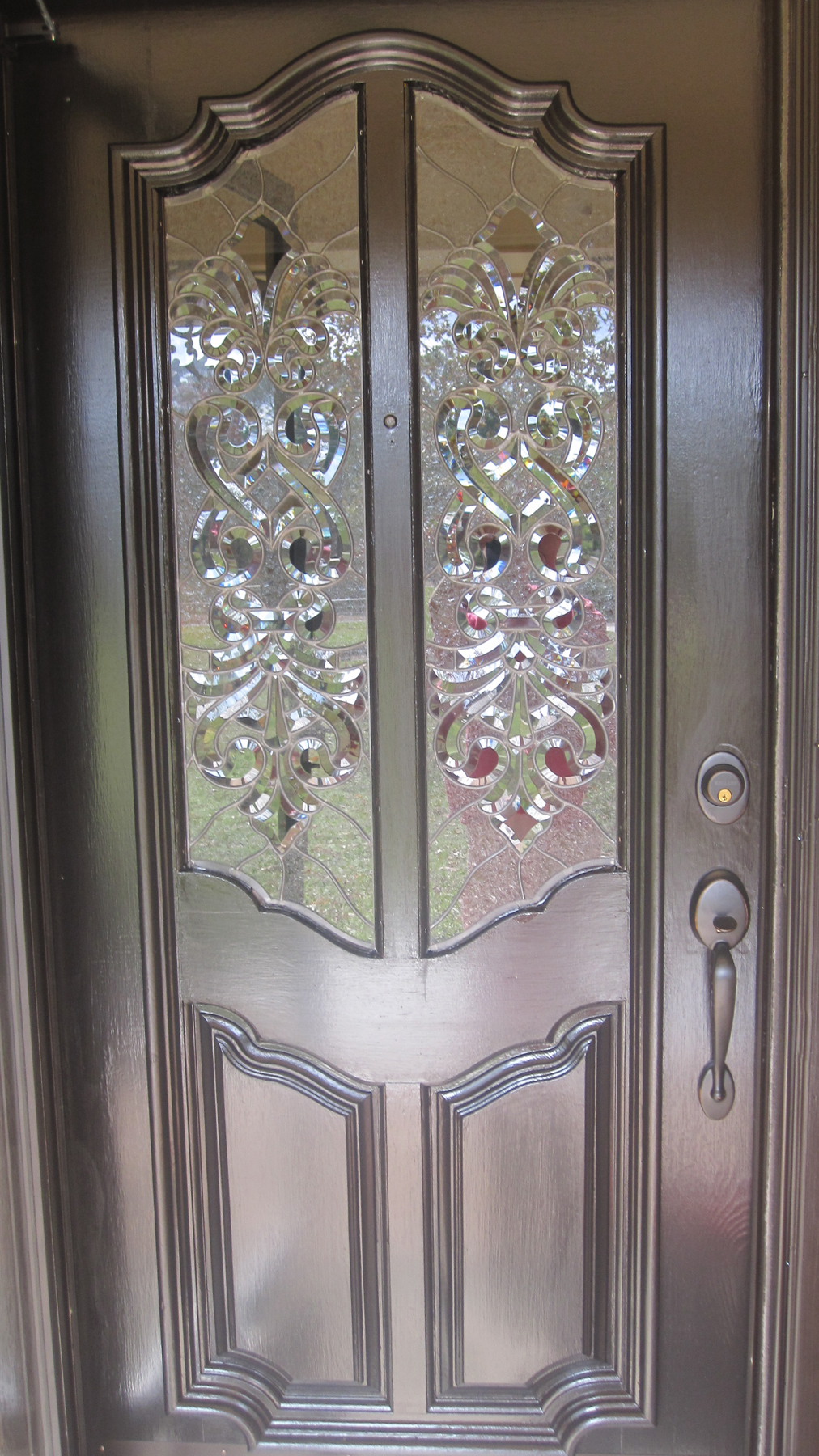 Captivating Clear Textured And Beveled Glass Door Panels