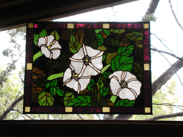 Moon Lilies in stained glass