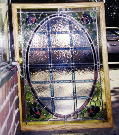 Art nouveau stained glass hanging panel