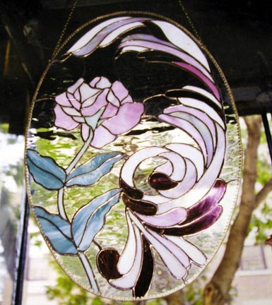 Oval rose stained glass hanging panel