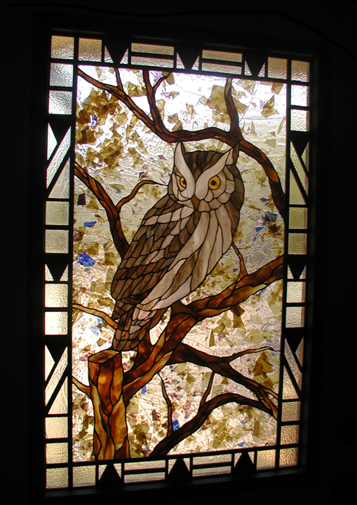 Martinu0027s Tavern Leaded Glass Entry Windows · Owl Door Panel With Art Deco  Border And Sidelites