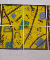 Funky Fused Glass Painted Tiles
