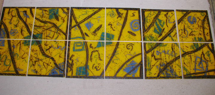 "Fused and painted glass accent wall tiles. Approx.6"" x 6"" each."