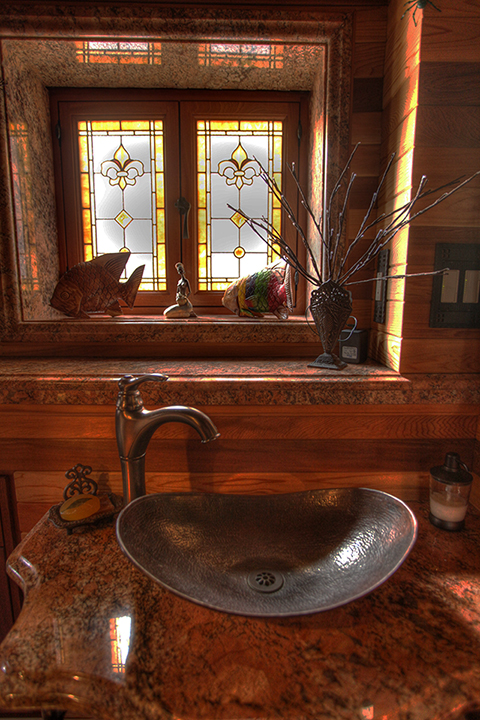 Superbe Fleur De Lis Leaded Glass Bathroom Windows