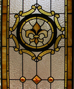 Fleur de Lis leaded Glass Bathroom Door