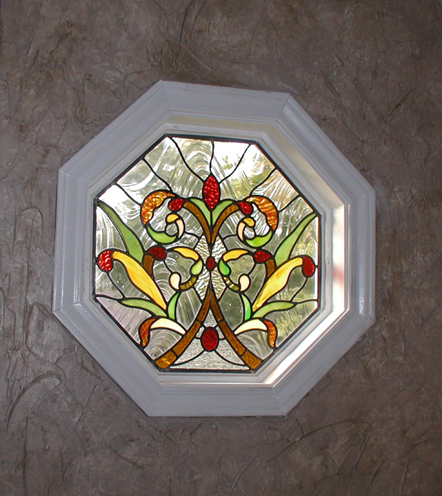 Stained Glass Bathroom Window With Victorian And Art Nouveau Elements