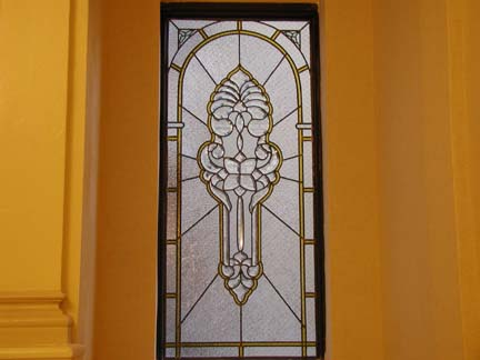 Custom leaded beveled glass window for lobby of Prospect Park West Residential building
