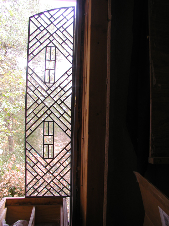 Abstract Leaded Beveled Glass Interior Door Panels