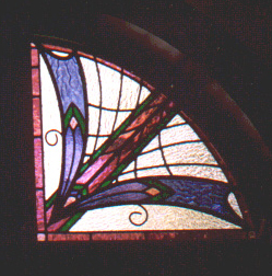 Art deco style stained glass panel set