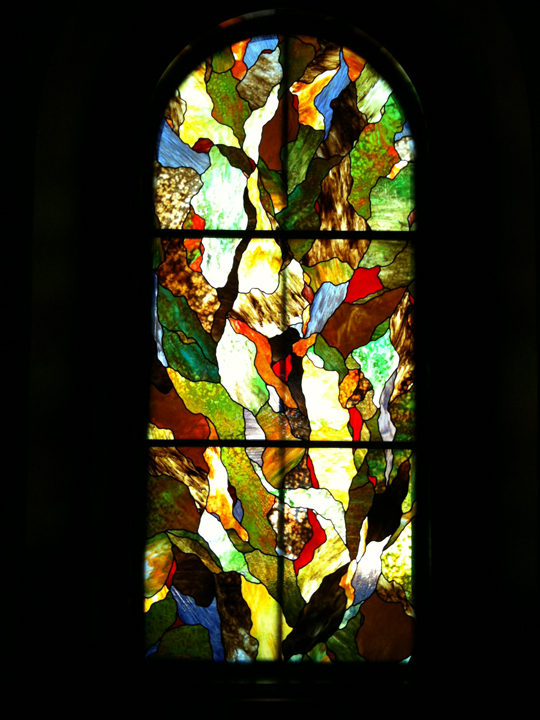 Abstract stained glass hallway window