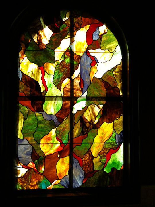 Abstract stained glass bathroom privacy window