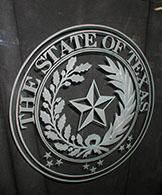 State of Texas Carved Glass Seal in Door
