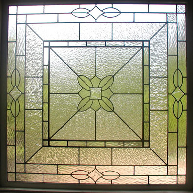 Leaded clear textured glass bathroom privacy window