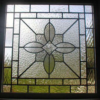 Clear textured leaded glass garage window