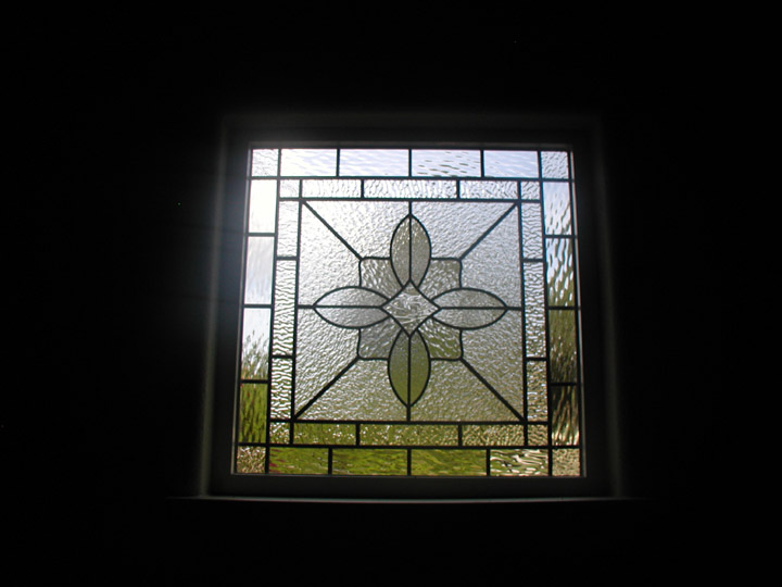Leaded Clear Textured Glass Decorative Window For A Garage