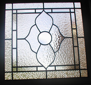 Leaded clear textured glass garage window
