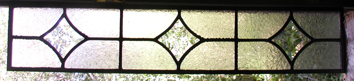 three stars leaded beveled glass window