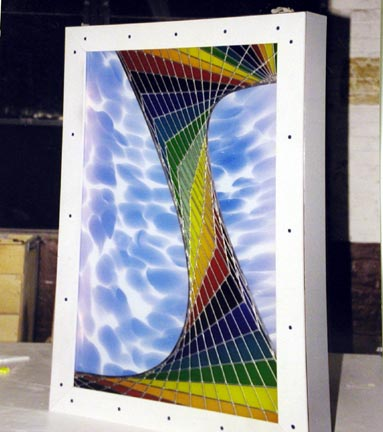 Abstract stained glass panel in light box