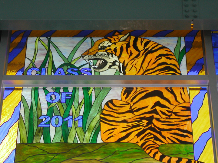 SPHS 2011 stained glass tiger window