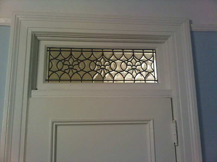all custom beveled fleur de lis transom window