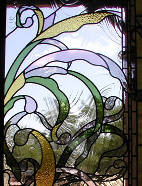 Art Nouveau entryway doors and transom