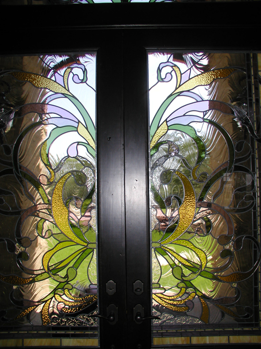 Nouveau entryway doors and transom custom stained and leaded glass art nouveau style entryway doors and transom planetlyrics Gallery