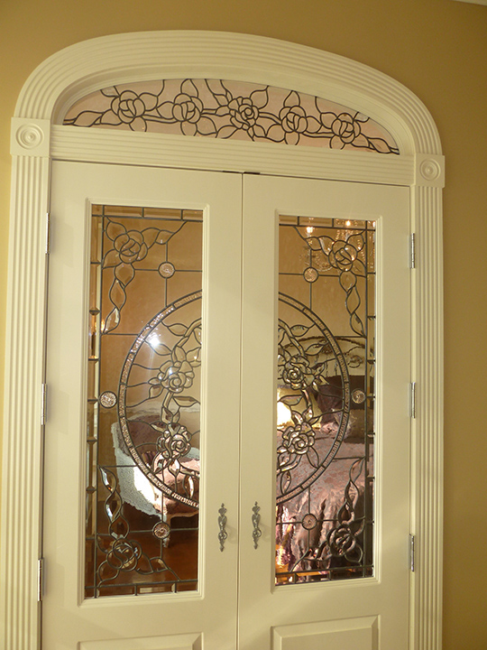 Beveled Glass Roses Doors and Transom Set & Glass Roses Doors and Transom Set Pezcame.Com