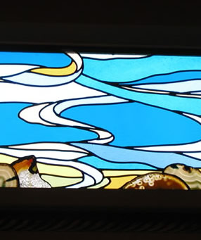 Custom abstract stained glass window set