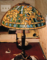 "Reproduction of Tiffany 16"" Banded Daffodil Lamp"