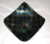 Fused Iridescent Glass Tile Bowl