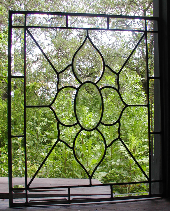 Leaded beveled glass windows