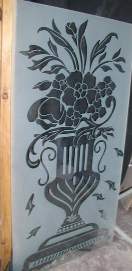 Etched Glass Vase on Flowers Door Panel