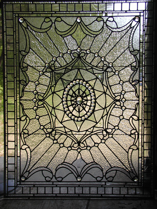 Leaded clear textured glass victorian window