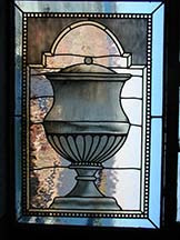 Leaded Hand Painted Glass Urn Window