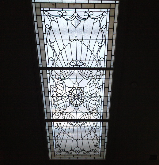 Clear leaded textured glass skylite
