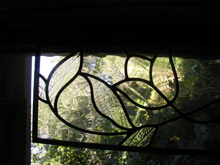 Clear leaded glass flowers and leaves transom window