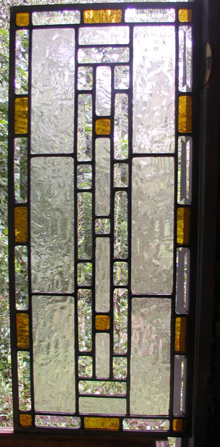 Geometric Leaded Glass Cabnet Door Panel