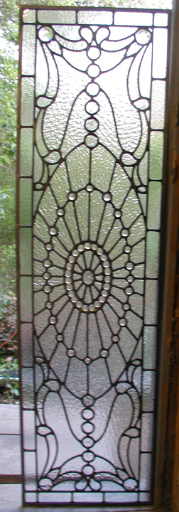 Traditional style leaded glass bathroom door panel