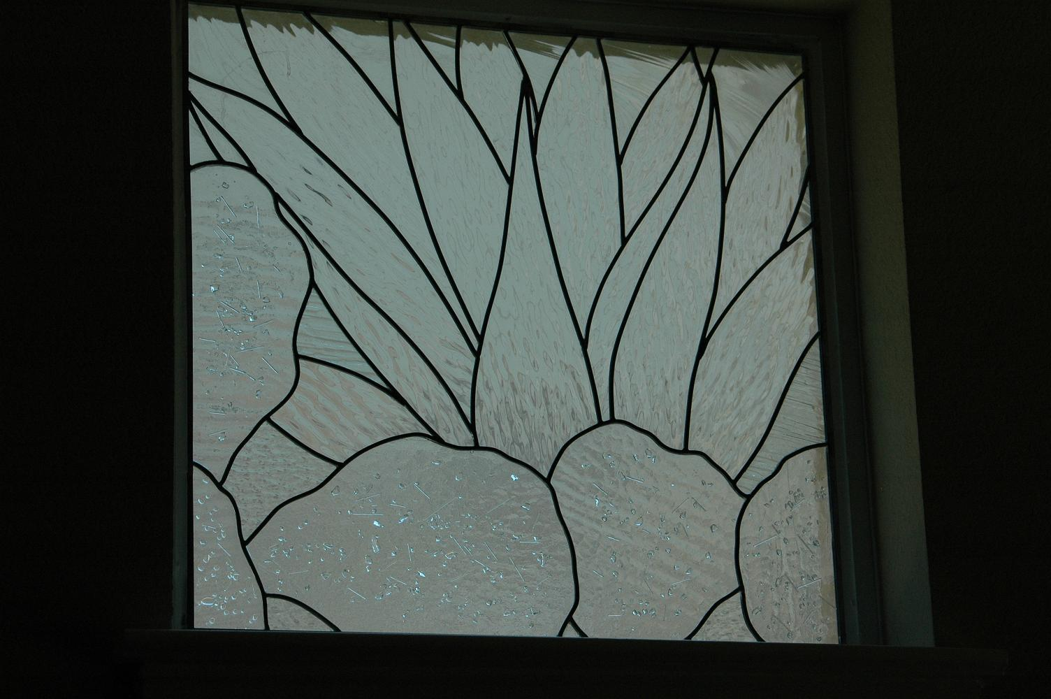 Leaded clear textured and fused glass cactus windows