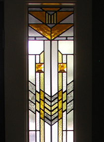 FLW style leaded glass entryway