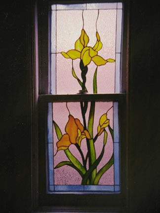 Yellow Iris Stained Glass Bathroom Privacy Window. Traditional and Victorian Stained Glass Windows and Doors Gallery